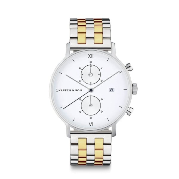 Kapten & Son Uhr Chrono Small Silver Gold Bicolor Steel 37 mm