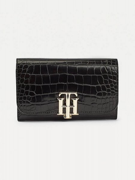 Tommy Hilfiger TH Lock Med Flap Wallet Black Croc