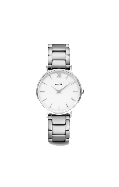 Uhr Minuit 3-Link Silver White/Silver