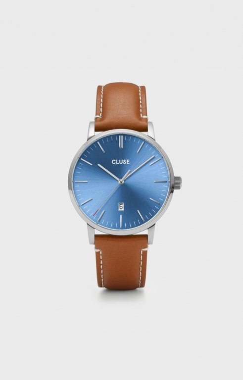 Uhr Aravis leather silver blue/light brown