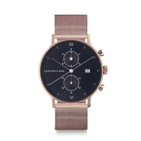 Kapten & Son Uhr Chrono Black Mesh Rosegold 40 mm