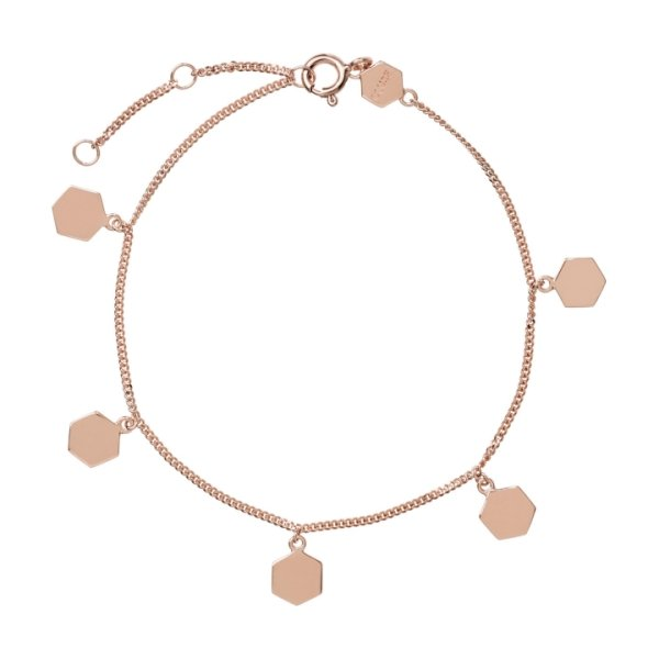 Armband Essentielle Rosegold Hexagon Charms Chain 925