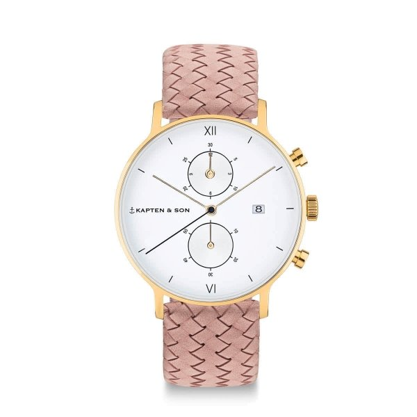 Kapten & Son Chrono Gold Rose Woven Leather 40mm