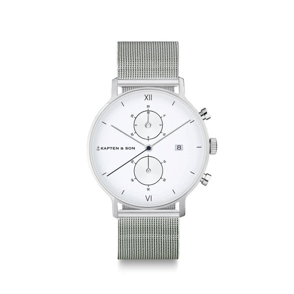 Kapten & Son Uhr Chrono Small Silver Mesh 37mm