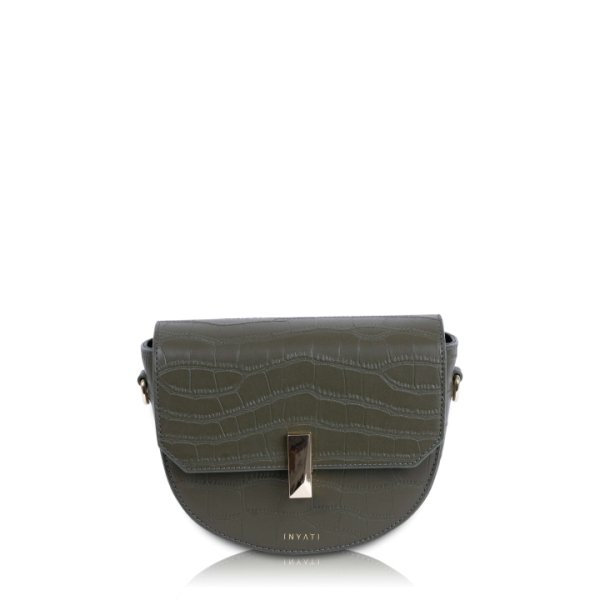 Inyati Dora Crossbody dark olive croco matt