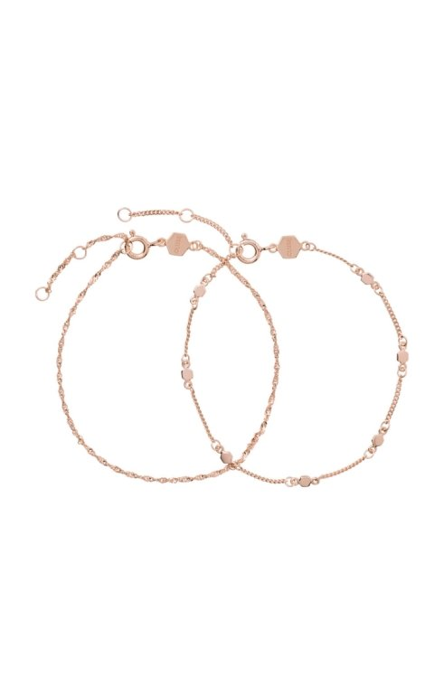 Armband Essentielle Gold Set twisted and Hexagon Chain 925