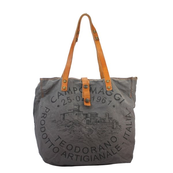 Shopper Handled Canvas COW  grey black