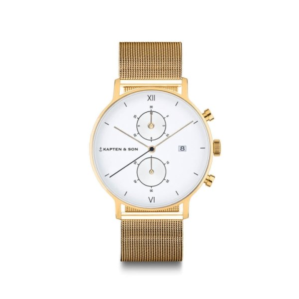 Kapten & Son Uhr Chrono Small Gold Mesh 37 mm