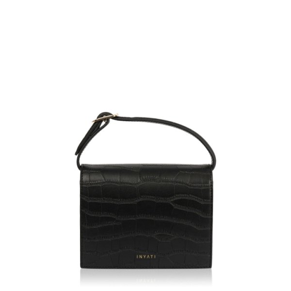Inyati Ivy Mini bag black croco matt Schwarz
