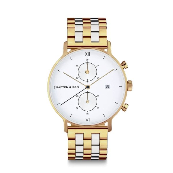 Kapten & Son Uhr Chrono Small Gold Silver Bicolor Steel 37 mm