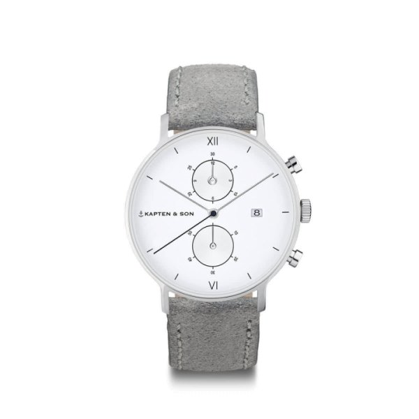 Kapten & Son Uhr Chrono Small Silver Grey Vintage Leather 37mm