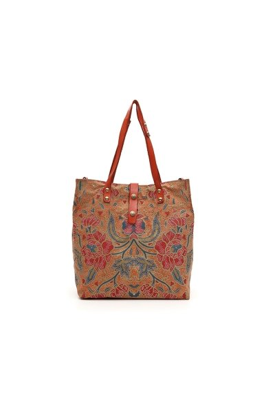 Shopping Bag Flower Print Baked Stained
