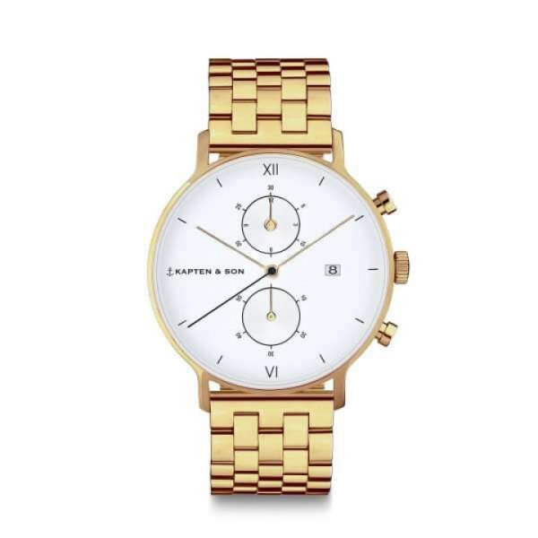 Kapten & Son Uhr Chrono Small Gold Steel 37 mm