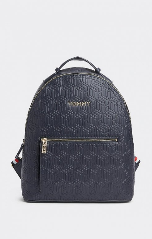 Rucksack Iconic Tommy Backpack Tommy Navy Embossed Monogram Blau