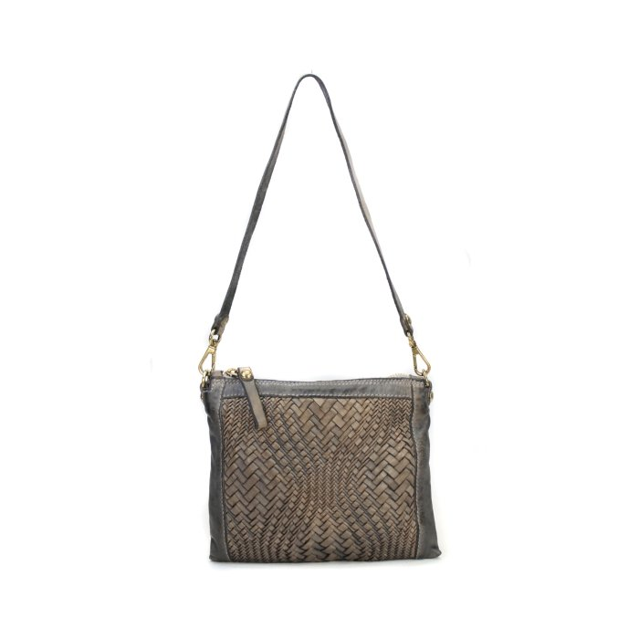 """Campomaggi CROSSBODY SMALL BLEACHED Crossover Tasche"""" WOVEN -P/D* PEARL GREY grau leder"""